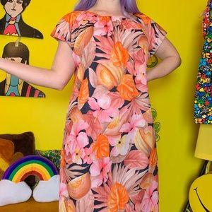 Vintage 70s Hawaiian smock dress M-L